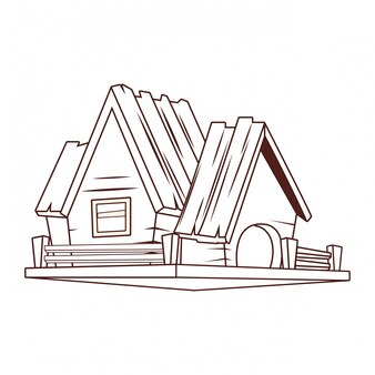 Caricature de maison en bois
