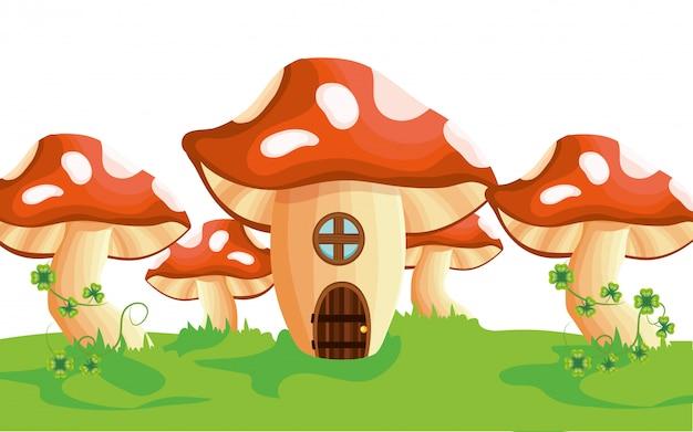 Caricature de maison champignon cru