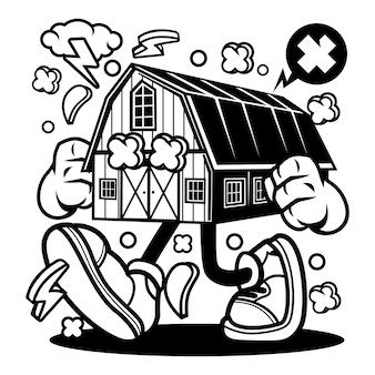 Caricature de maison de ferme