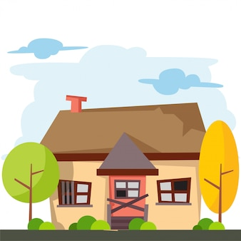 Caricature de maison avec porte cassée et fenêtres