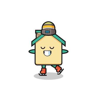 Caricature de la maison en tant que joueur de patinage sur glace faisant des performances, design mignon