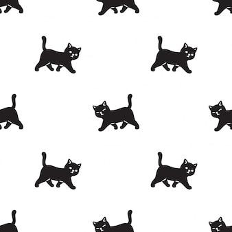 Caricature de marche de chat modèle sans couture chaton