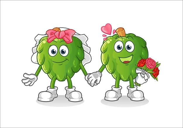 Caricature de mariage d'artichaut. mascotte de dessin animé