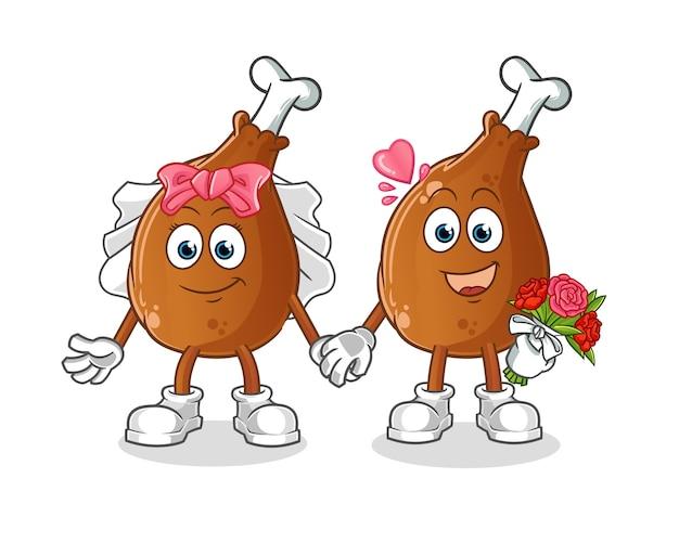 Caricature de mariage de cuisse de poulet. mascotte de dessin animé