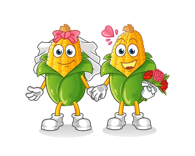 Caricature de mariage de maïs. mascotte de dessin animé