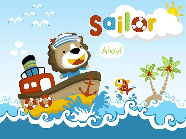 Caricature de marin heureux sur le petit bateau