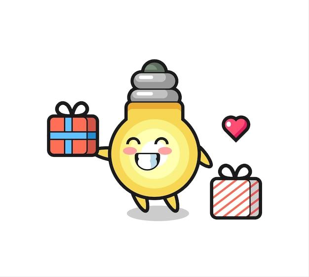 Caricature de mascotte d'ampoule donnant le cadeau, conception de style mignon pour t-shirt, autocollant, élément de logo