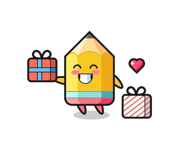 Caricature de mascotte au crayon donnant le cadeau, design de style mignon pour t-shirt, autocollant, élément de logo