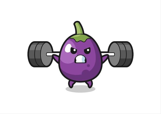 Caricature de mascotte d'aubergine avec une barre, design de style mignon pour t-shirt, autocollant, élément de logo