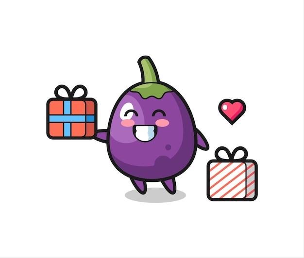 Caricature de mascotte d'aubergine donnant le cadeau, design de style mignon pour t-shirt, autocollant, élément de logo