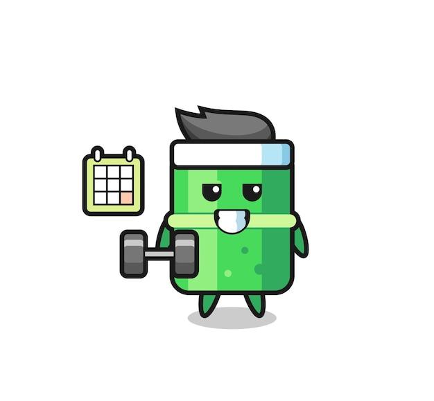 Caricature de mascotte en bambou faisant du fitness avec haltère, design de style mignon pour t-shirt, autocollant, élément de logo