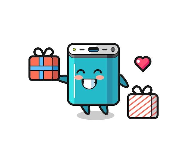 Caricature de mascotte de banque de puissance donnant le cadeau, conception de style mignon pour t-shirt, autocollant, élément de logo
