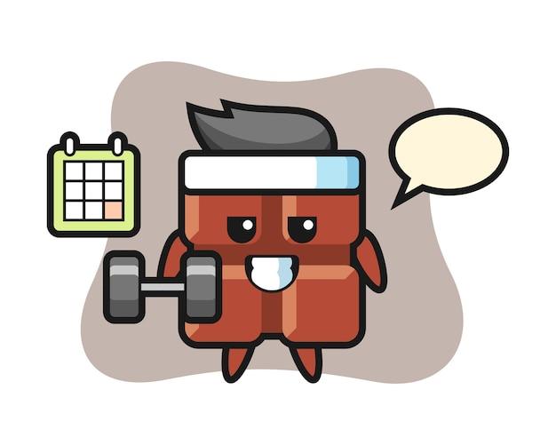 Caricature de mascotte de barre de chocolat faisant du fitness avec haltère, style kawaii mignon.