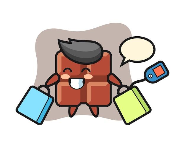 Caricature de mascotte de barre de chocolat tenant un sac à provisions, style kawaii mignon.