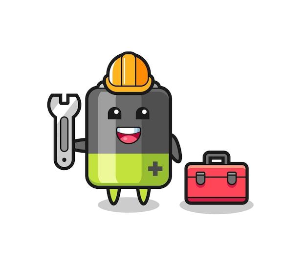 Caricature de mascotte de batterie en tant que mécanicien, conception de style mignon pour t-shirt, autocollant, élément de logo