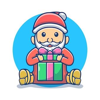 Caricature de mascotte de boîte-cadeau ouverte du père noël