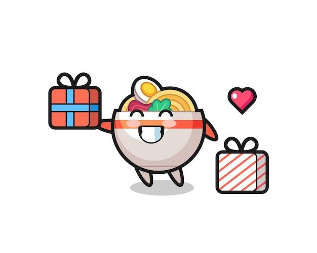 Caricature de mascotte de bol de nouilles donnant le cadeau, design de style mignon pour t-shirt, autocollant, élément de logo