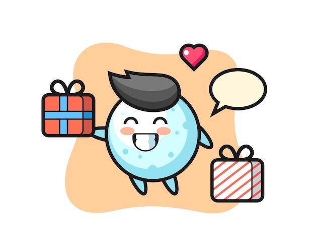Caricature de mascotte boule de neige donnant le cadeau, design de style mignon pour t-shirt, autocollant, élément de logo