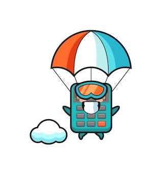 La caricature de la mascotte de la calculatrice saute en parachute avec un geste heureux, un design de style mignon pour un t-shirt, un autocollant, un élément de logo