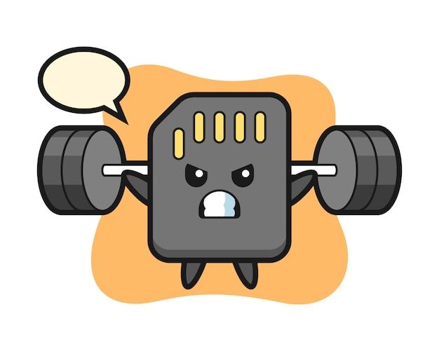 Caricature de mascotte de carte sd avec une barre, conception de style mignon pour t-shirt