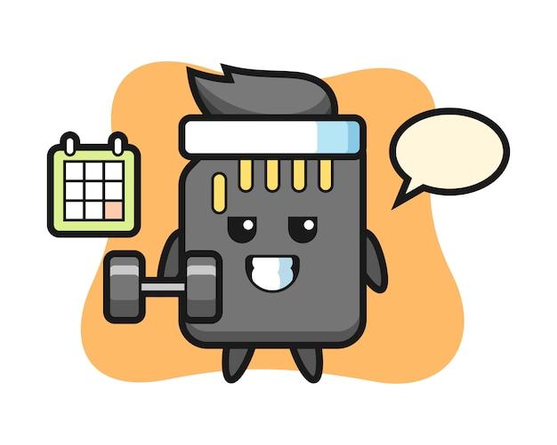 Caricature de mascotte de carte sd faisant du fitness avec haltère, conception de style mignon pour t-shirt