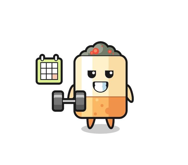 Caricature de mascotte de cigarette faisant du fitness avec haltère, design mignon