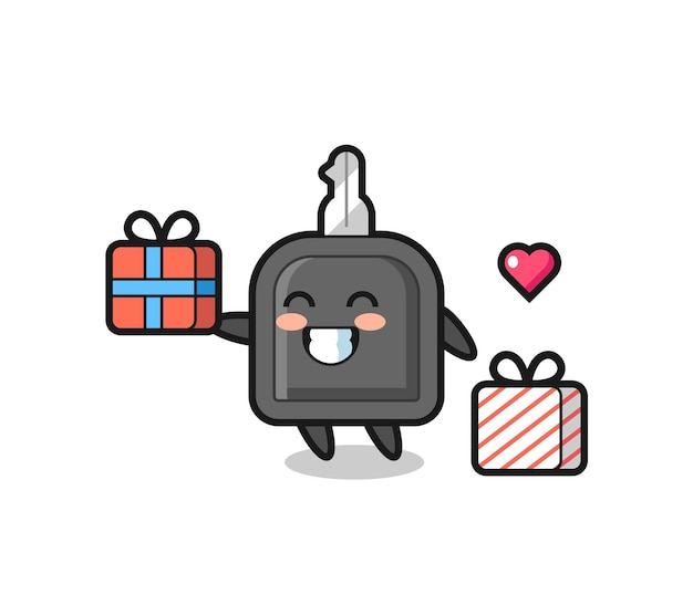 Caricature de mascotte de clé de voiture donnant le cadeau, design de style mignon pour t-shirt, autocollant, élément de logo