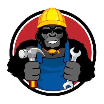 Caricature de mascotte de constructeur de gorille