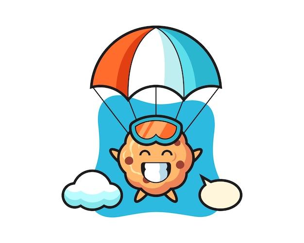 Caricature de mascotte cookie aux pépites de chocolat fait du parachutisme avec un geste heureux