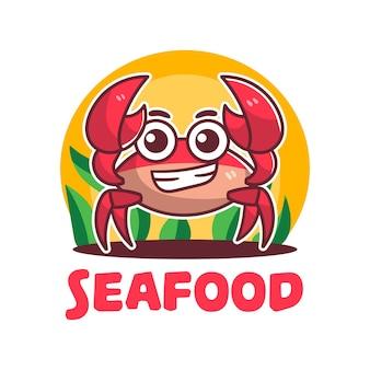 Caricature de mascotte de crabes de fruits de mer mignon logo