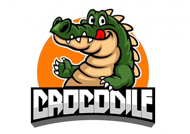 Caricature de la mascotte de crocodile