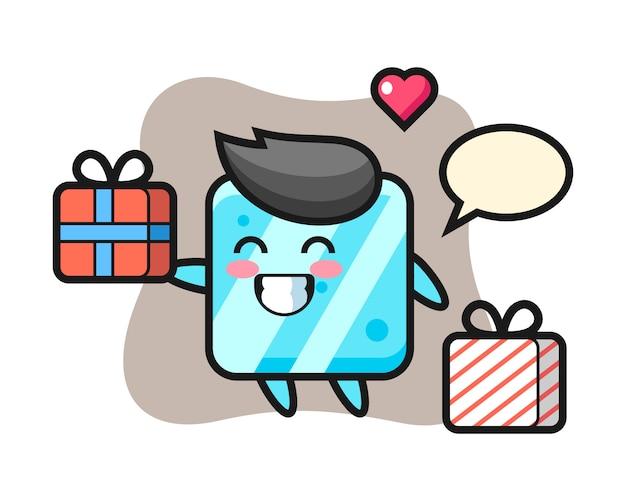 Caricature de mascotte de cube de glace donnant le cadeau