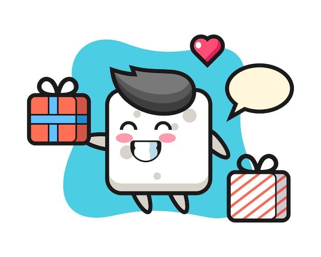 Caricature de mascotte de cube de sucre donnant le cadeau, style mignon pour t-shirt, autocollant, élément de logo