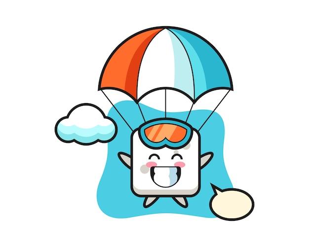 Caricature de mascotte de cube de sucre fait du parachutisme avec un geste heureux, style mignon pour t-shirt, autocollant, élément de logo