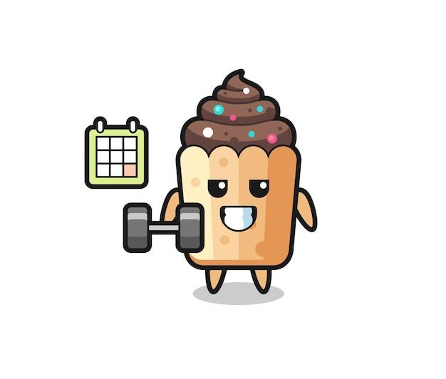 Caricature de mascotte cupcake faisant du fitness avec haltère, design mignon