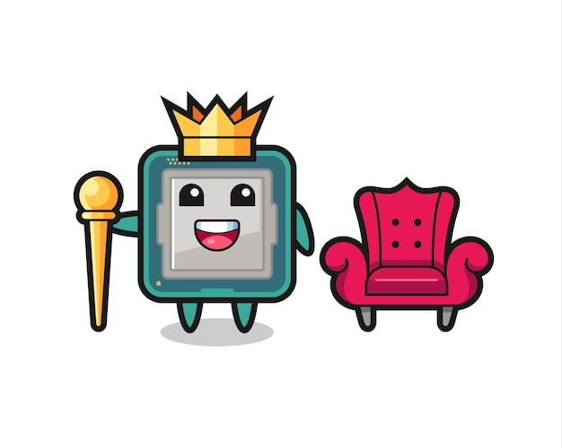 Caricature de mascotte du processeur en tant que roi, conception de style mignon pour t-shirt, autocollant, élément de logo