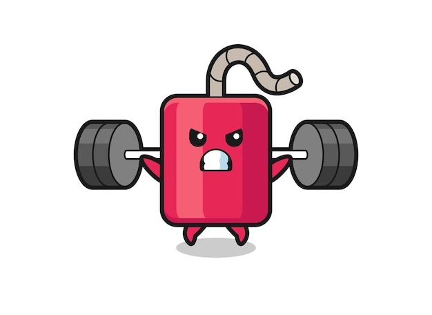 Caricature de mascotte dynamite avec une barre, design de style mignon pour t-shirt, autocollant, élément de logo