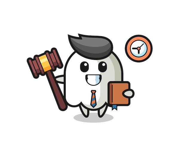 Caricature de mascotte de fantôme en tant que juge, conception de style mignon pour t-shirt, autocollant, élément de logo