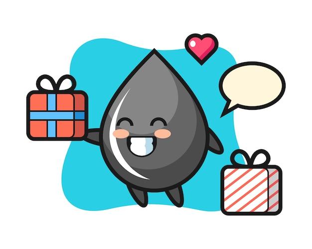 Caricature de mascotte de goutte d'huile donnant le cadeau