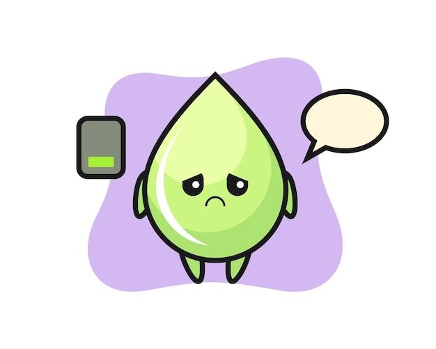 Caricature de mascotte de goutte de jus de melon faisant un geste fatigué, design de style mignon pour t-shirt, autocollant, élément de logo