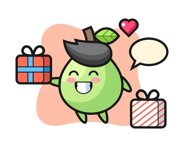 Caricature de mascotte de goyave donnant le cadeau, style mignon pour t-shirt, autocollant, élément de logo