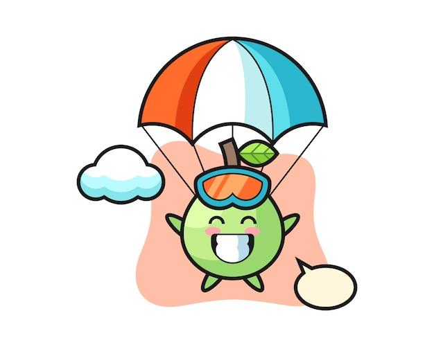 La caricature de la mascotte de goyave fait du parachutisme avec un geste heureux, un style mignon pour un t-shirt, un autocollant, un élément de logo