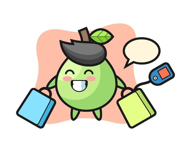Caricature de mascotte de goyave tenant un sac à provisions, style mignon pour t-shirt, autocollant, élément de logo