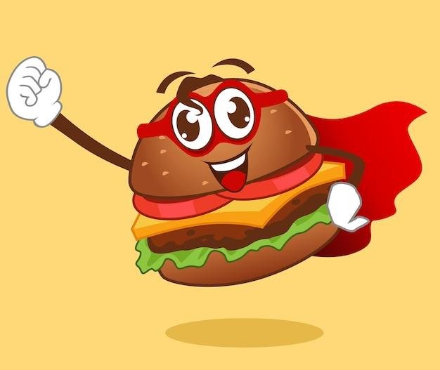 Caricature de mascotte hamburger en vecteur