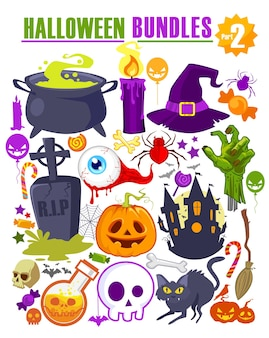 Caricature de mascotte icône halloween en vecteur