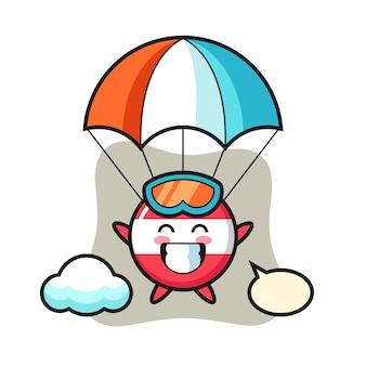 Caricature de mascotte d'insigne de drapeau de l'autriche fait du parachutisme avec un geste heureux