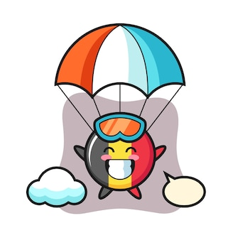 Caricature de mascotte d'insigne de drapeau de belgique fait du parachutisme avec un geste heureux