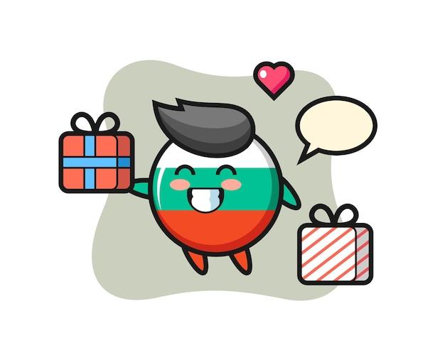 Caricature de mascotte d'insigne de drapeau de la bulgarie donnant le cadeau, conception de style mignon pour t-shirt, autocollant, élément de logo