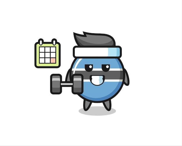 Caricature de mascotte d'insigne de drapeau du botswana faisant du fitness avec haltère, design de style mignon pour t-shirt, autocollant, élément de logo