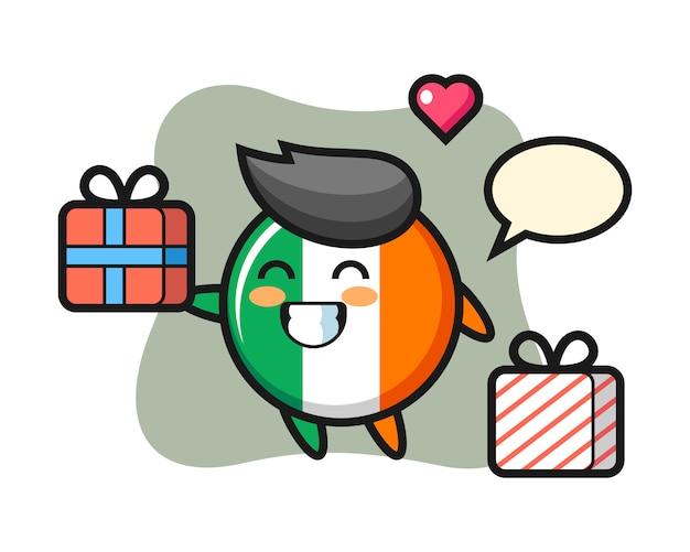 Caricature de mascotte d'insigne de drapeau d'irlande donnant le cadeau